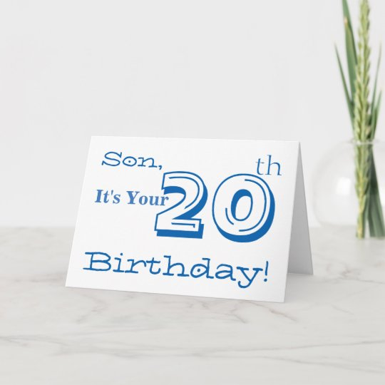 Sons 20th Birthday Greeting In Blue And White Card