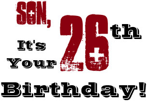 sons 26th birthday greeting in black red white card