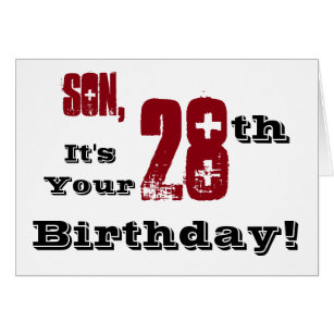 28th birthday cards greeting photo cards zazzle sons 28th birthday greeting in black red white card bookmarktalkfo Gallery
