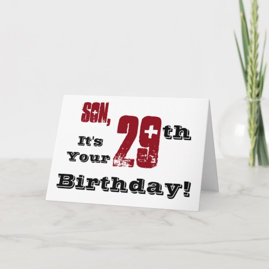 Son's 29th Birthday Greeting In Black, Red, White. Card