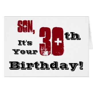 Son's 30th birthday greeting in black, red, white. card
