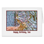 Son's Birthday Card with Deer and Crab Apples