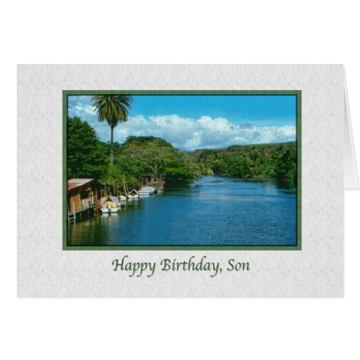 Son's Birthday Card with Hawaiian River
