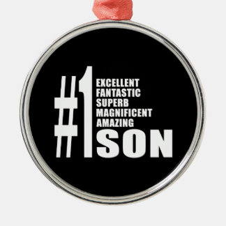 Sons Birthdays Gifts : Number One Son Metal Ornament
