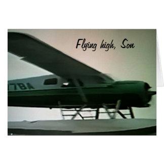 SON'S GRADUATION-FLYING HIGH SON CARD