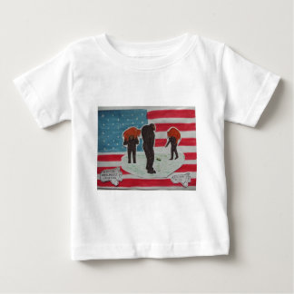 sons hunting with father & U,S,A.flag Infant T-shirt