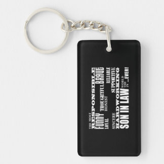Sons in Law Weddings Birthdays Parties : Qualities Double-Sided Rectangular Acrylic Keychain