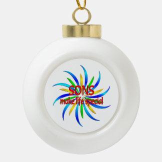 Sons Make Life Special Ceramic Ball Christmas Ornament