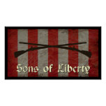 Sons of Liberty Flag with Two Muskets Poster