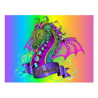 """Sonya"" Believe Fairy Rainbow Dragon Postcard"