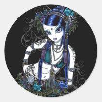 tribal, fusion, belly, dancer, dance, gothic, henna, tattoo, fairy, jewerly, goddess, fantasy, sonya, myka, jelina, art, postcard, fine art, Sticker with custom graphic design