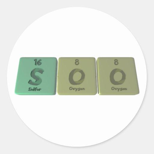 Soo as Sulfur Oxygen Oxygen Classic Round Sticker