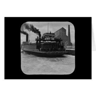 SOO Railroad Ferry Vintage Magic Lantern Slide Greeting Card