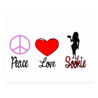 sookie del amor de la paz tarjeta postal