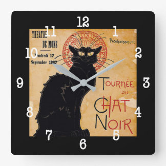 """""""Soon and the Black Cat Tour by Rodolphe Salis"""" Square Wall Clock"""