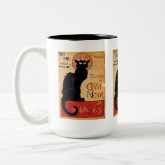 """Soon and the Black Cat Tour by Rodolphe Salis"" Two-Tone Coffee Mug"