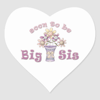 Soon To Be Big Sis Cute Flowers Heart Sticker