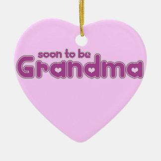 Soon to be Grandma Double-Sided Heart Ceramic Christmas Ornament