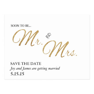 Soon To Be Mr. & Mrs. Save the Date Postcard