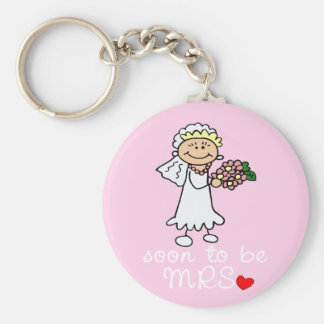 Soon to be MRS CUTE Stick Bride Basic Round Button Keychain
