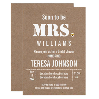 Soon to be Mrs. kraft paper wedding bridal shower Card