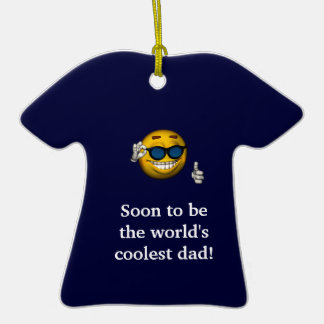 """Soon to Be the World's Coolest Dad"" [a] Double-Sided T-Shirt Ceramic Christmas Ornament"