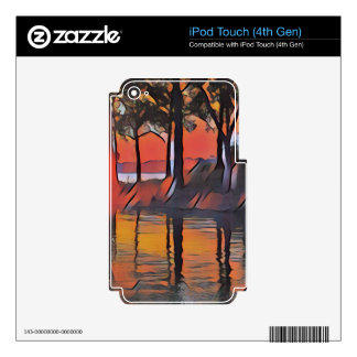 Soothing Artistic Trees Reflections on Water Decals For iPod Touch 4G