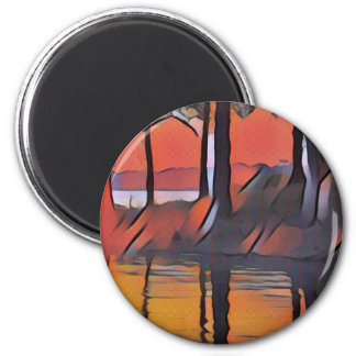 Soothing Artistic Trees Reflections on Water Magnet