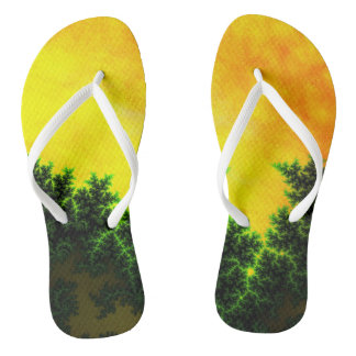 Soothing Fantasy Sunset in Green, Orange & Yellow Flip Flops
