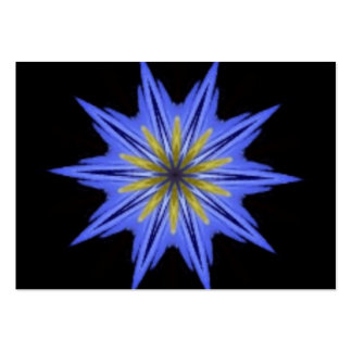 Soothing Hypnotic Yellow Blue Floral Kaleidoscope Business Card