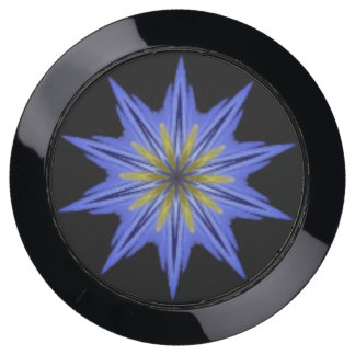 Soothing Hypnotic Yellow Blue Floral Kaleidoscope USB Charging Station