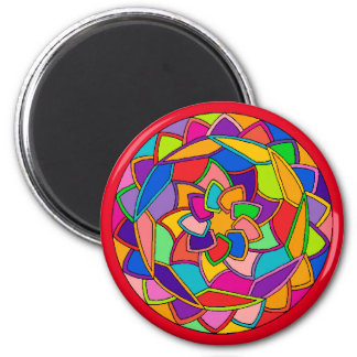 Soothing Mandala Flower Petals Round Magnet