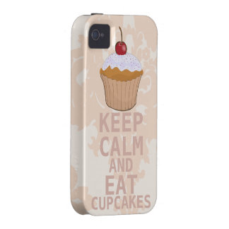 Soothing Peachy Damask KEEP CALM AND Eat Cupcakes iPhone 4/4S Covers
