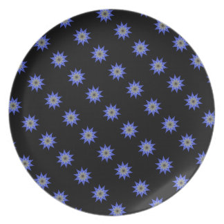 Soothing Yellow Blue Floral Kaleidoscope Plate