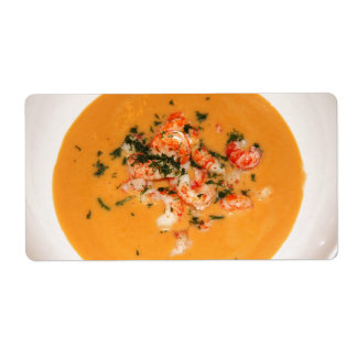 Sopa anaranjada etiqueta de envío