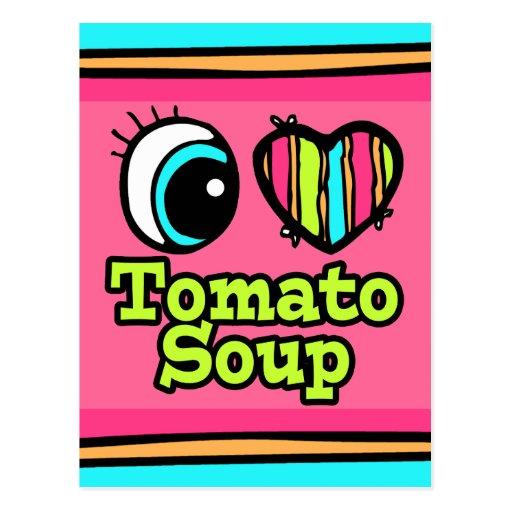 Sopa brillante del tomate del amor del corazón I d Postal