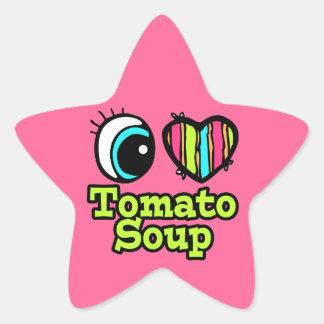 Sopa brillante del tomate del amor del corazón I Calcomanía Forma De Estrella