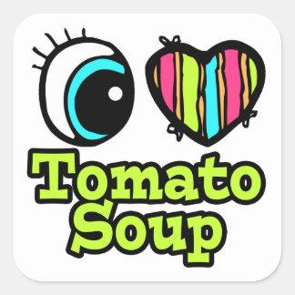 Sopa brillante del tomate del amor del corazón I Pegatinas Cuadradases Personalizadas