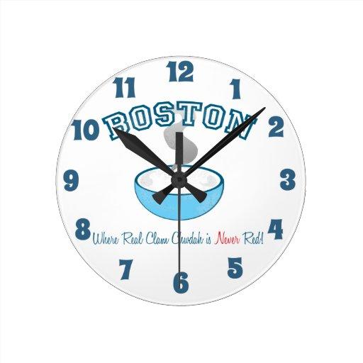 Sopa de almejas de Boston del equipo Reloj De Pared
