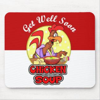 Sopa de fideos del pollo mousepads