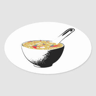 sopa de la aleta del tiburón pegatina ovalada