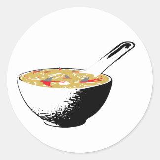 sopa de la aleta del tiburón pegatina redonda