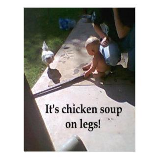Sopa de pollo en las piernas membrete a diseño