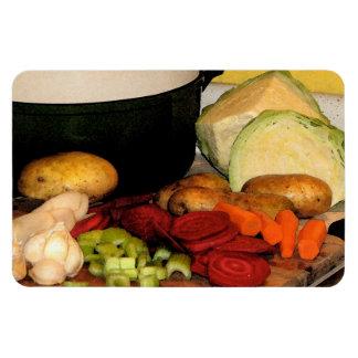 Sopa de verduras iman rectangular