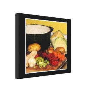 Sopa de verduras lienzo envuelto para galerías