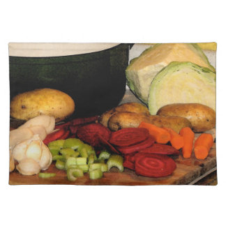 Sopa de verduras manteles
