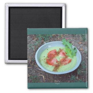 Sopa del aguacate del calabacín imán cuadrado