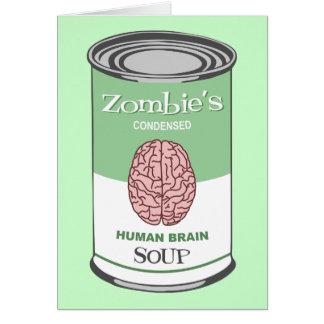 Sopa del cerebro humano del zombi tarjeta de felicitación