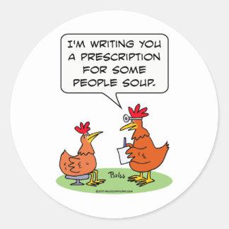 sopa del paciente del doctor de la gente del pollo etiqueta redonda
