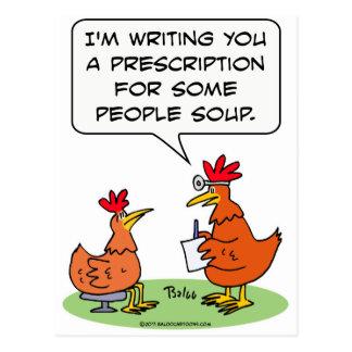 sopa del paciente del doctor de la gente del pollo tarjeta postal